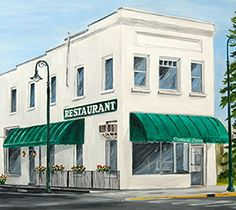 Parkside Restaurant of Charlevoix Large Print. By Northern Michigan Artist Linda Boss of Charlevoix. Part of the Pure Charlevoix Collection. Charlevoix Michigan, Three Lakes, Northern Michigan, Sign Printing, Local Artists, Large Prints, Note Cards, Magnets, Boss