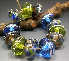 HANDMADE LAMPWORK GLASS Bead Set Donna Millard spring summer 2012 ocean sea water blue green ice. $45.00, via Etsy.