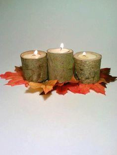 Rustic Wedding Decor, Log Candle Holders. Miniature, Tealight Candle Holders. $20.00, via Etsy.