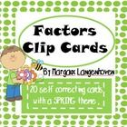 I created this set of Factors Clip Cards to use as an extra math resource.   This resource can be used as an introduction activity, or as a time fi...