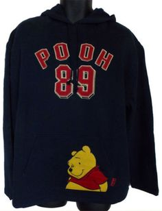 Disney Winnie The Pooh Hoodie Sweatshirt Navy Hooded Fleece Pullover Embroidered