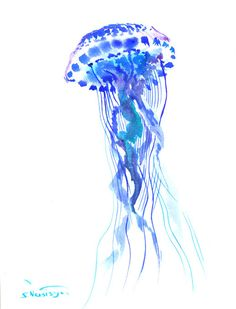 Jellyfish art original watercolor painting blue by ORIGINALONLY