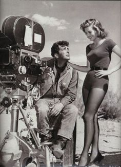 A classic shot of Dean Martin & Angie Dickinson (stunning!) on the set of Rio Bravo. (1959)