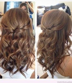 18 Elegant Hairstyles for Prom: #13. Curly Half Updo