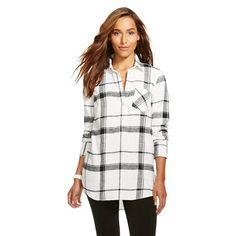 Women's Plaid Flannel Favorite Tunic - Merona™ - Ebony