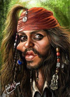 Johnny Depp in Piratas do Caribe.