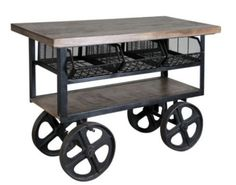 Rustic-Kitchen-Island-Designer-Kitchens-Industrial-Mango-Wood-Iron-Wheels-Cart only $1,549.00