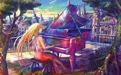 Download wallpapers 4k, Kaori Miyazono, piano, manga, Shigatsu wa Kimi no Uso