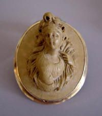 """VICTORIAN LAVA cameo brooch, an unusual full face lovely Bacchante , set in yellow gold with pendant loop on back, beautifully carved, 1-5/8"""" by 1-1/3"""". (Yes it is Lava and more valuable than most shell cameos!)"""