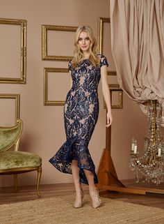 #Embroidered #Sequin & Mesh Boat #Neck #Dress