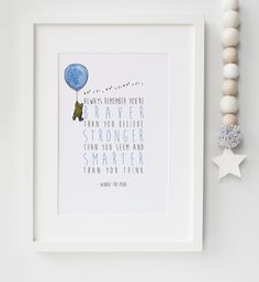 Personalised Winnie The Pooh New Baby/Chid Boy/Girl Nursery Birth Name Quote Print Keepsake Picture Christening Gift by LexisLittlePrints on Etsy