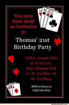 birthday party invitation for casino theme | Casino Vegas Birthday Party Invitation