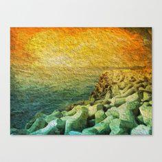Plage de Saint-Clair - Béton - France Stretched Canvas by Escrevendo e Semeando - $85.00