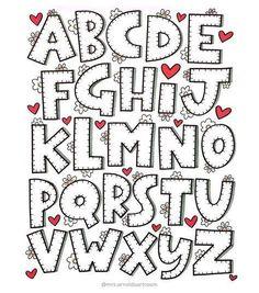Hand Lettering Alphabet, Doodle Lettering, Creative Lettering, Lettering Styles, Calligraphy Letters, Block Lettering, Brush Lettering, Doodle Alphabet, Doodle Art