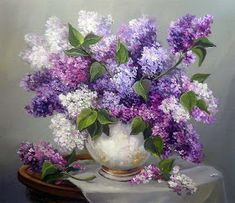 This counted cross stitch pattern was created from the beautiful Artwork copyright of Anca Bulgaru. Arte Floral, Beautiful Artwork, Beautiful Flowers, Hortensia Rose, Lilac Painting, Lilac Flowers, Cross Stitch Flowers, Counted Cross Stitch Patterns, Cross Stitches