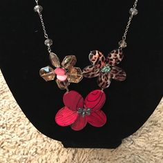 Red and brown beaded flower necklace Handmade beaded necklace, gently used. Jewelry Necklaces