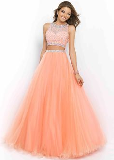 Blush 5400 Neck Two Piece Beaded Coral Pink Long Prom Dress