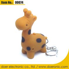 Plastic Giraffe Sound Mini Torch Keychain Ring | Doer Electronic the Animals Novelty Gadgets Supplier from China, Welcome to the World of Animals Fun.