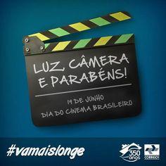 """Os Correios têm orgulho de apoiar o cinema nacional. Há 124 anos, foi exibido o primeiro filme em movimento genuinamente brasileiro, chamado """"Vista da Baía de Guanabara"""", que tornou o dia de hoje ainda mais importante para cultura brasileira. Parabéns para todos que fazem o nosso cinema sempre ir mais longe."""