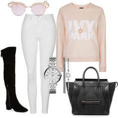 Ivy Park #2 by charlotte-down on Polyvore featuring polyvore, fashion, style, Topshop, Nine West, CÉLINE, FOSSIL, Astley Clarke, Le Specs and clothing