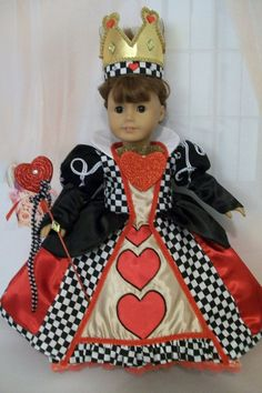 American Girl Doll Clothes. Queen of Hearts Gown with Crown and Septor. $55.00, via Etsy.