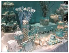 The theme can continue on through a Candy Station... All the colors, though not tiffany blue, still merge together to bring the tiffany blue together.