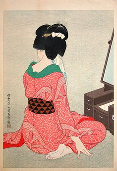 "Tattoo Ideas & Inspiration - Japanese Art | Hirano Hakuho - ""Before the Mirror""(Kagami no mae), 1932 