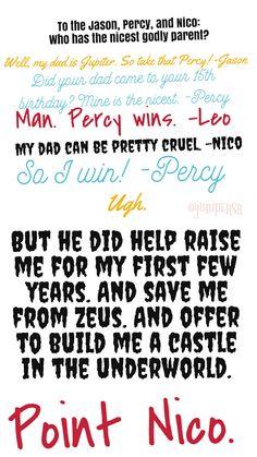 """""""To the Jason, Percy, and Nico"""" lol Percy Jackson Movie, Percy Jackson Annabeth Chase, Percy Jackson Characters, Percy Jackson Quotes, Percy Jackson Fan Art, Percy Jackson Fandom, Solangelo, Percabeth, Oncle Rick"""