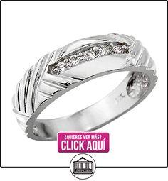 Pequeños Tesoros - Anillos Hombres Alianza De Boda 10 Kt Oro Blanco 471/1000 Diamante  ✿ Joyas para hombres especiales - lujo ✿ ▬► Ver oferta: https://comprar.io/goto/B0127JBLFO
