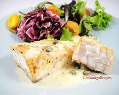 Sturgeon with Capers, White Wine Cream Sauce - GrabandgoRecipes.com Russian Home Cooking Recipes