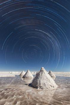 Rastro de estrella, Salar de Uyuni, Bolivia