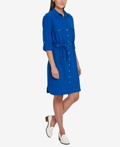 Tommy Hilfiger Belted Shirtdress, Created for Macy's - Dresses - Women - Macy's