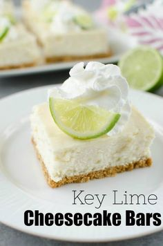Key Lime Cheesecake Bars Key Lime Cheesecake Bars Key Lime Cheesecake Bars – creamy cheesecake bars filled with key lime juice and fresh lime zest on a graham cracker crust. Top them with whipped cream and a lime slice for the perfect summer dessert. Key Lime Desserts, Mini Desserts, Summer Desserts, Delicious Desserts, Key Lime Dessert Bars, Plated Desserts, Key Lime Bars, Key Lime Cheesecake Bars, Cheesecake Recipes