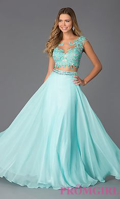 Two Piece Floor Length Lace Embellished Dave and Johnny Dress at PromGirl.com
