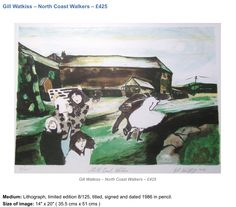 lithograph, Limited Edition 'North Coast Walkers', Cornwall by the collectable artist Gill Watkiss - signed,inscribed and dated 1986 West Cornwall, North Coast, Online Painting, Online Art, Contemporary Art, Art Gallery, Scene, Paintings