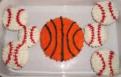 Sports  time with Basketball cake and Baseball cupcakes