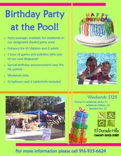 Ferguson Real Estate EDH 95762 - Birthday Party At The CSD Pool! Hill Park, The Pa, Special Birthday, Lifeguard, Announcement, Balloons, Real Estate, Activities, Children