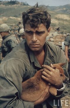 Vietnam Soldier with Dog  Even back then - Dogs played a part in helping the soldiers cope