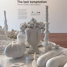 banquet table of salt.  The last temptation :  the art of Ken  Julia Yonetani until 25 April 2016   NGA Contemporary  Chandeliers made from uranium glass representing nuclear-powered nations and a nine-metre banquet table made entirely of salt feature in the first large survey show of these internationaly acclaimed artists.  Photo by @mu_ceramics_studio_gallery by mizumagallery