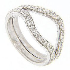 Antique Style 14K White Gold Curved Wedding Bands