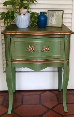 Emerald Green French Nightstand by RevisitedConcepts on Etsy