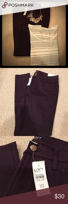 NWT purple skinny jeans NWT dark purple skinny jeans from Loft. They're kind of a stretchy material, at least more so than a typical jean would be. They're cute, and I like the color but I always think I'll wear colored jeans more than I will so I need to get rid of them. Price is for the jeans only, but the top is in my closet in another listing so feel free to bundle. No trades. Reasonable offers considered but lowballs will be denied. LOFT Pants Skinny