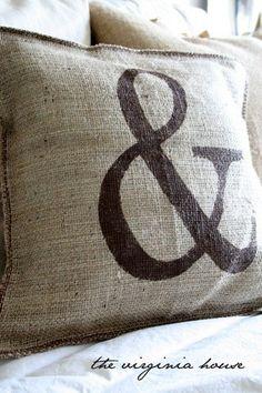 Burlap Decorative Stenciled Pillow