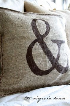 Burlap Decorative Stenciled Pillow