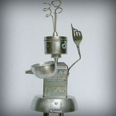 coffee house robot sculpture - recycled robot. $140