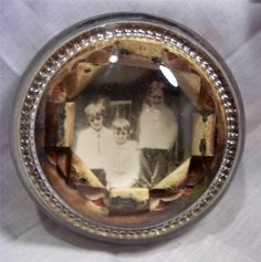 Antique 1890's Portrait One of a Kind Domed Glass Paperweight - Neat Item!