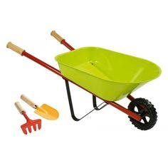Lovingly designed in France, our Green Metal Wheelbarrow will delight your little gardener. Perfect for hauling dirt, rocks, and flowers around the back yard, this sturdy metal wheelbarrow includes a small metal rake and trowel with wooden handles.