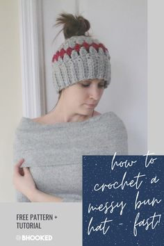 Don't decide between a hat or bun, do both! There are a lot of messy bun hat patterns out there. This is one of the fastest to crochet.  #BHooked #Crochet #FreeCrochetPattern