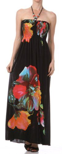 FOBlackFloral86A-7931 Floral on Solid Black Graphic Print Beaded Halter Smocked Bodice Long / Maxi Dress - Red / Large