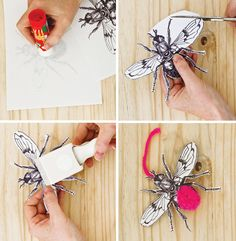 Create your own pompom insects with this downloadable template